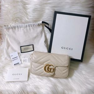 Pre-Owned White Gucci Marmont Crossbody